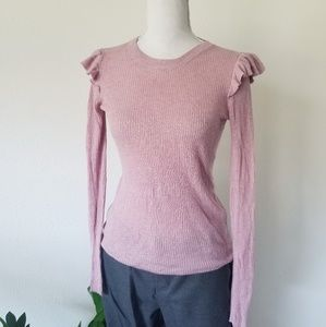 Madewell Ruffle Long Sleeve Pullover Top Tee XXS